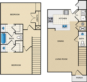 Two Bedroom Townhome - 2 Bdr / 1.5 Bath - 1,183 Sq. Ft.*