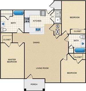 Three Bedroom Flat - 3 Bdr / 2 Bath - 1,262 Sq. Ft.*